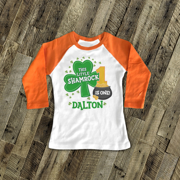 First birthday shirt Irish shamrock personalized any age birthday raglan Tshirt