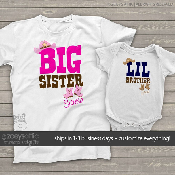 Brother or sister western cowboy or cowgirl sibling Tshirt set