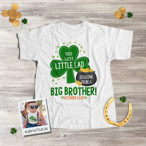 St. Patrick's Day big brother to be shirt little lad pregnancy announcement Tshirt