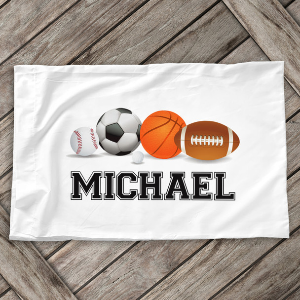 Sports theme with sports balls personalized pillowcase / pillow