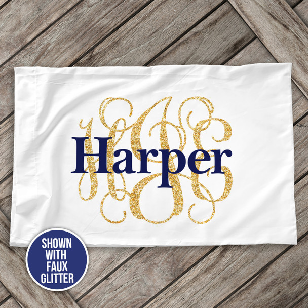 Monogram initials with name personalized pillowcase / pillow