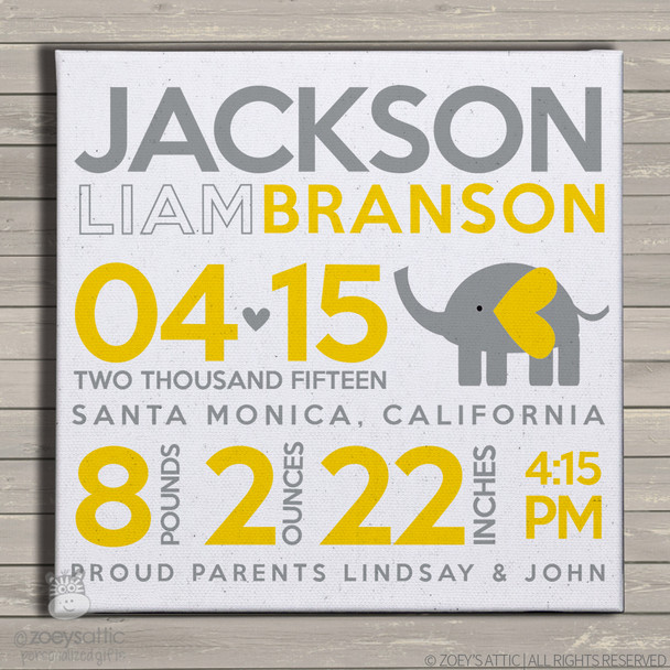 Birth announcement canvas print elephant custom yellow and gray birth announcement poster