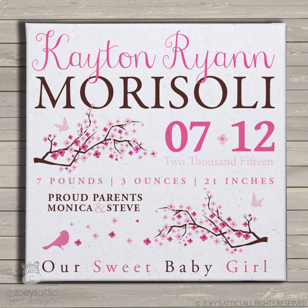 Birth announcement canvas print cherry blossom birdie custom birth announcement poster