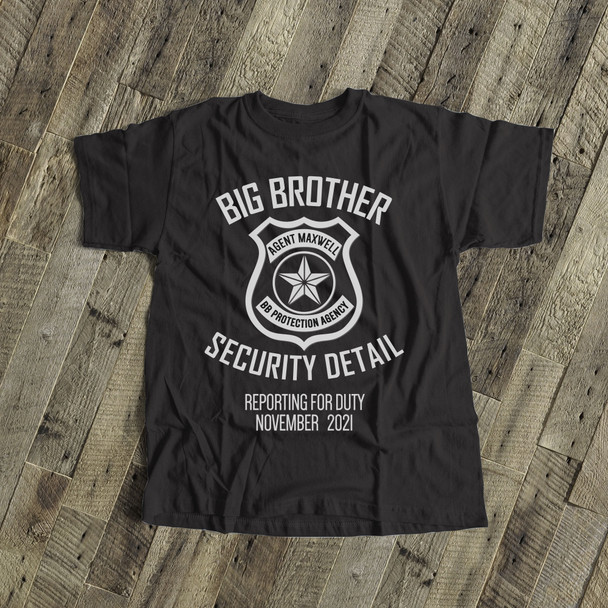 Big brother to be shirt security detail pregnancy announcement DARK Tshirt