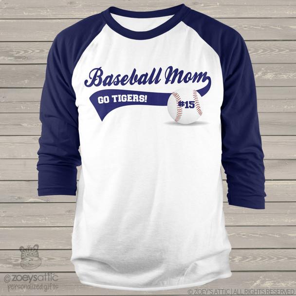 Mom baseball shirt with name and team name personalized colorblock raglan baseball mom shirt