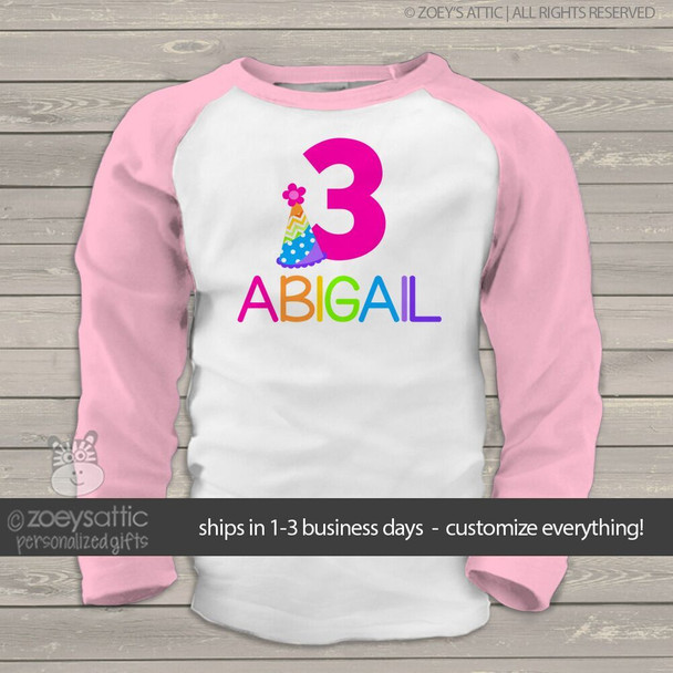 Birthday shirt girl rainbow party hat personalized raglan Tshirt