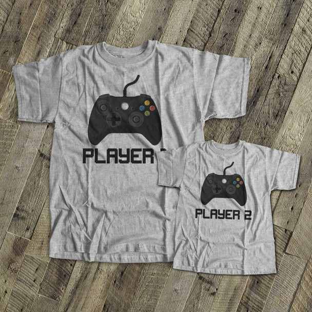 Video game player 1 and player 2 matching dad and kiddo t-shirt or bodysuit custom gift set