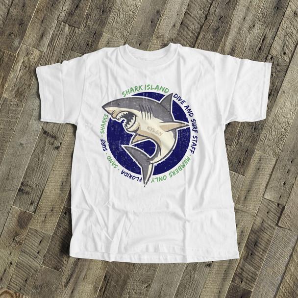 Summer beach shirt shark island sand surf sharks personalized beach Tshirt
