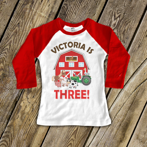 Birthday shirt barn and farm animals any age boy or girl personalized raglan Tshirt