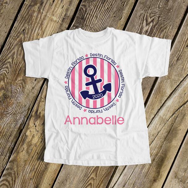 Summer vacation shirt anchor girls personalized vacation Tshirt