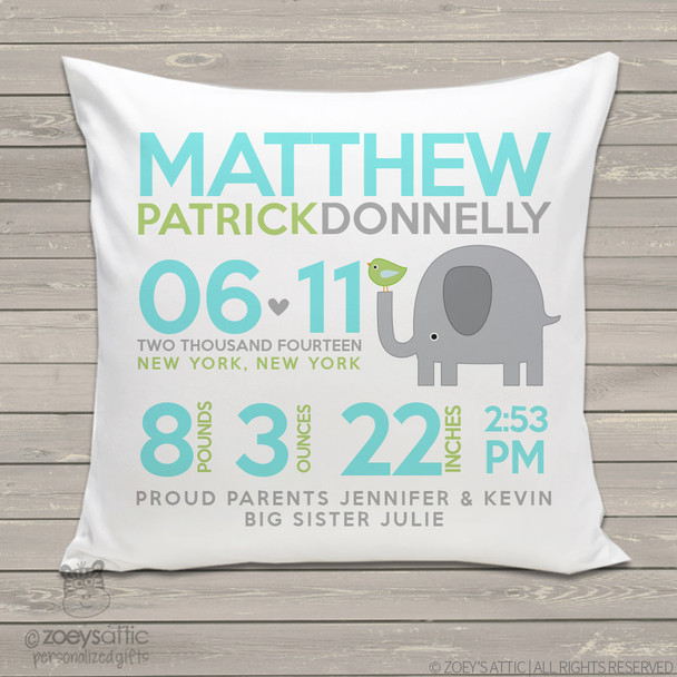 Birth announcement pillow elephant with birdie custom throw pillow with pillowcase