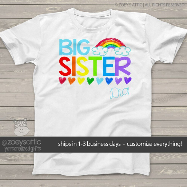 Big sister shirt colorful rainbow and hearts big sister personalized Tshirt