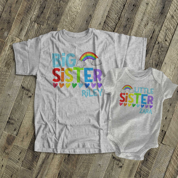 Big sister little sister colorful rainbow and hearts sibling Tshirt and bodysuit set
