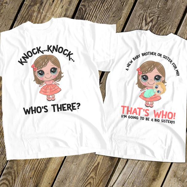 Big sister to be shirt knock knock secret pregnancy announcement Tshirt