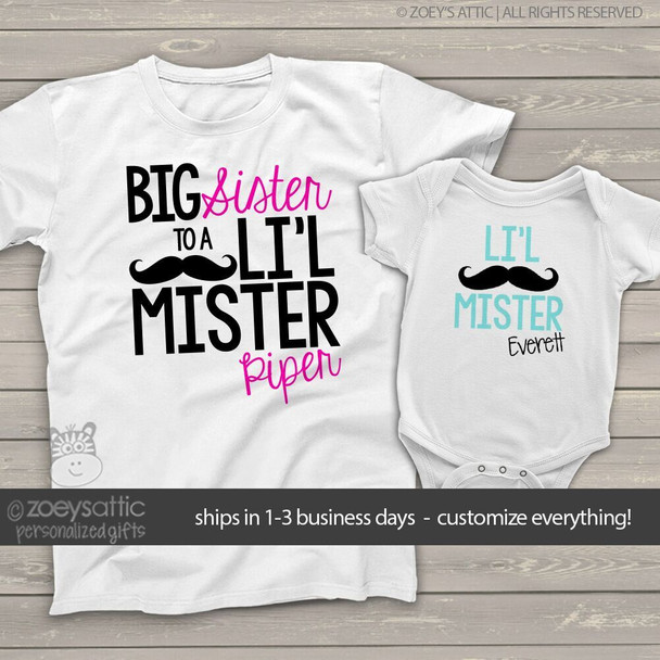 Big sister little brother sibling set mustache big sister li'l mister matching Tshirts