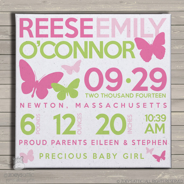 Birth announcement canvas print butterfly custom birth announcement poster