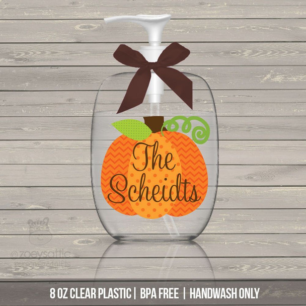 Halloween pumpkin personalized lotion or hand sanitizer or soap bottle - BPA free
