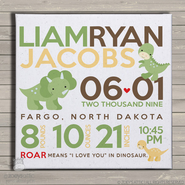 Birth announcement canvas print dinosaur custom birth announcement poster