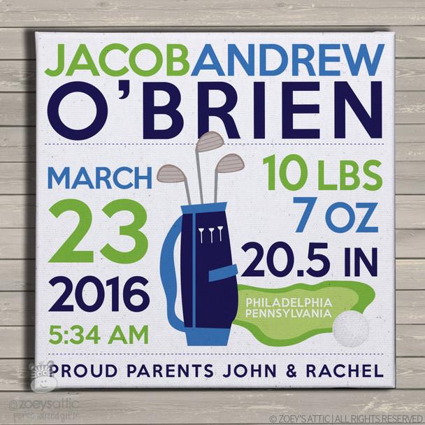 Birth announcement canvas print golf custom birth announcement poster