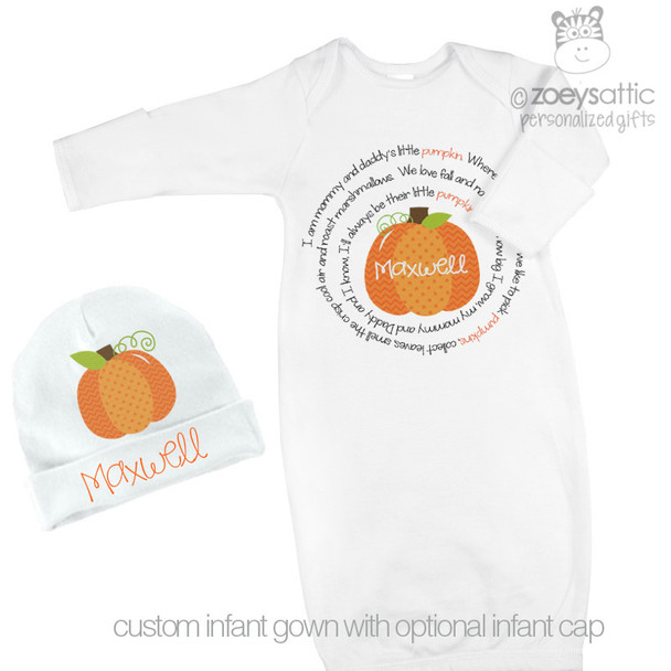 Newborn infant gown and optional matching cap little pumpkin personalized gown and cap set