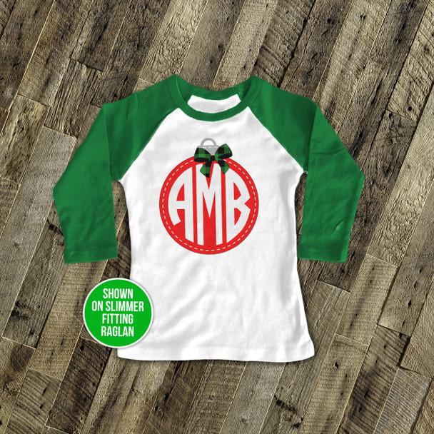 Holiday shirt monogram red Christmas ornament personalized raglan Tshirt
