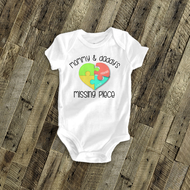 Adoption shirt mommy and daddy's missing piece puzzle adoption announcement personalized Tshirt or bodysuit