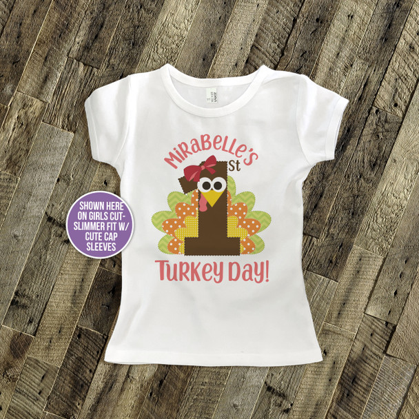 Thanksgiving shirt first turkey day boy or girl personalized 1st Thanksgiving Tshirt or bodysuit