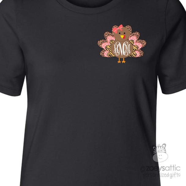 Thanksgiving shirt monogram turkey animal print womens BLACK crew neck or v-neck personalized Tshirt
