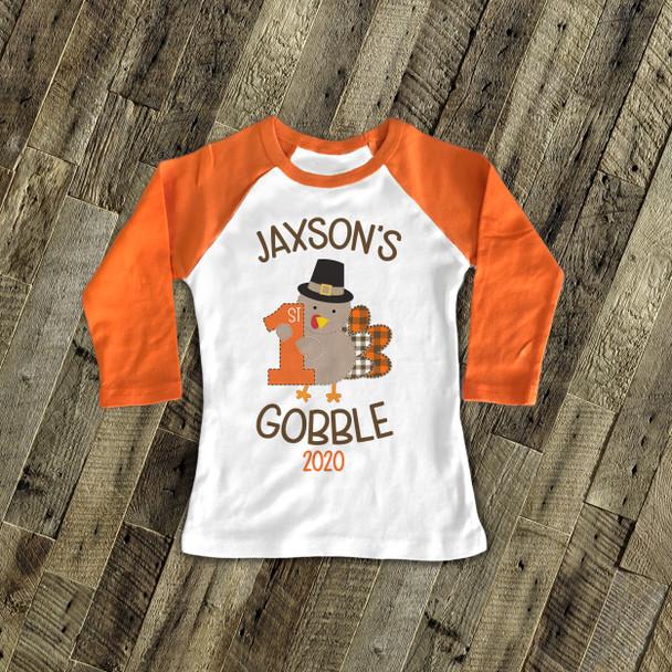 First Thanksgiving shirt 1st gobble personalized raglan Tshirt