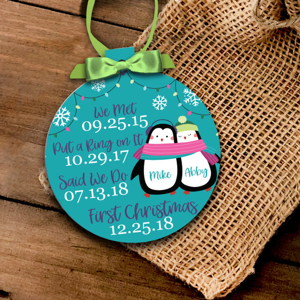 Holiday ornament penguin couple's important dates first Christmas together personalized ornament
