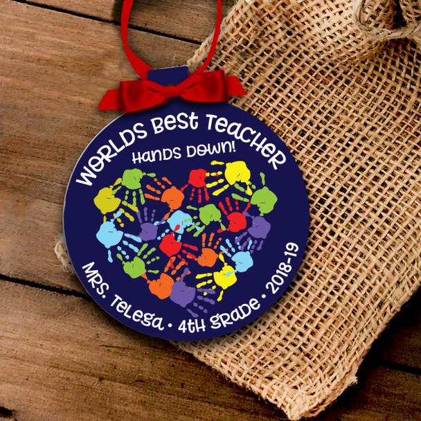 Holiday ornament teacher worlds best teacher hands down Christmas ornament