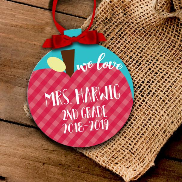 Holiday ornament teacher apple we love our teacher any grade Christmas ornament