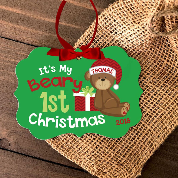 Baby's first Christmas bear girl or boy personalized ornament