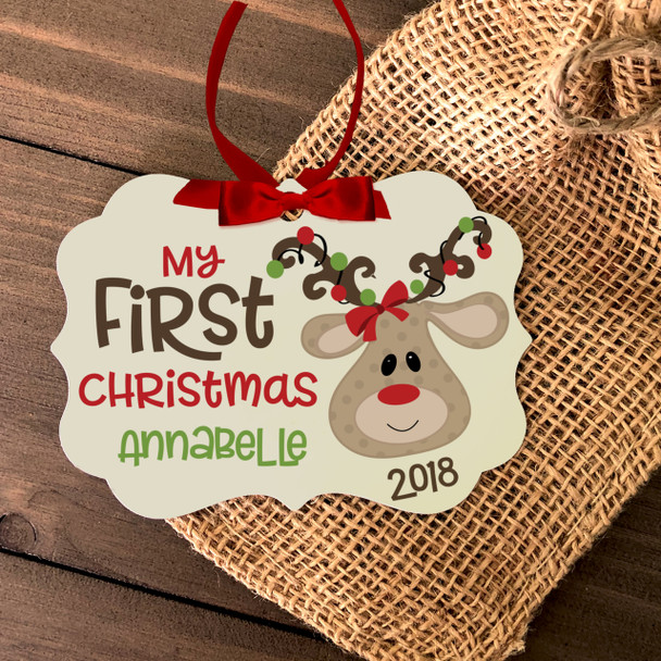 Baby's first Christmas reindeer personalized ornament