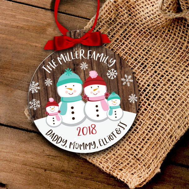 Holiday ornament snowman family personalized Christmas ornament