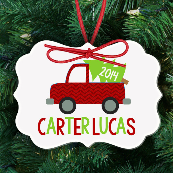 Holiday ornament boy or girl truck with Christmas tree personalized ornament