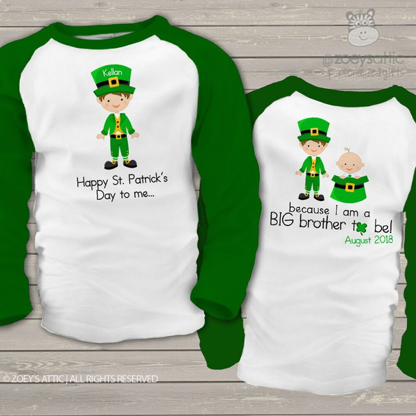 Big brother or big brother to be shirt St. Patrick's Day front/back pregnancy announcement raglan Tshirt