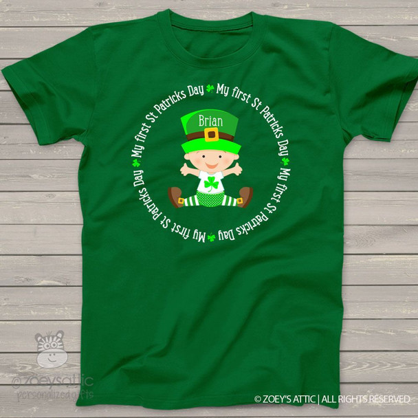 My first St. Patricks Day shirt circle personalized DARK Tshirt or bodysuit