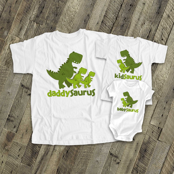 Dinosaur theme matching THREE shirt gift set
