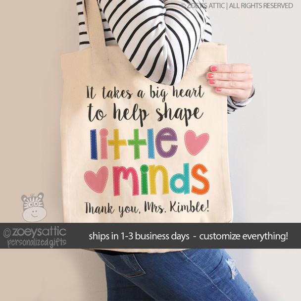 Little minds teacher tote bag