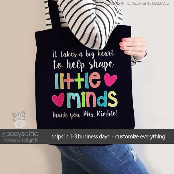 Little minds teacher DARK tote bag