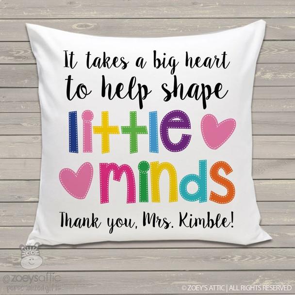 Little minds teacher throw pillow