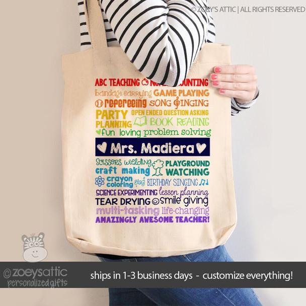 Teacher superpowers tote bag