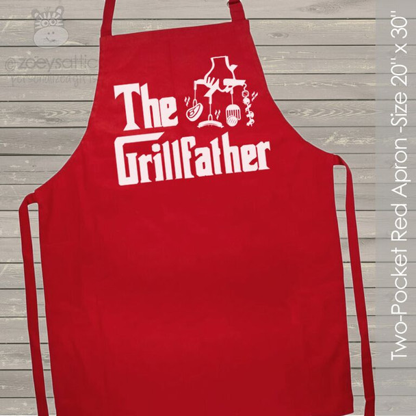 The Grillfather custom RED apron