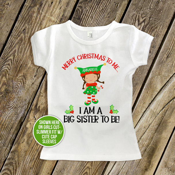 Christmas shirt big sister to be Merry Christmas to me pregnancy announcement Tshirt