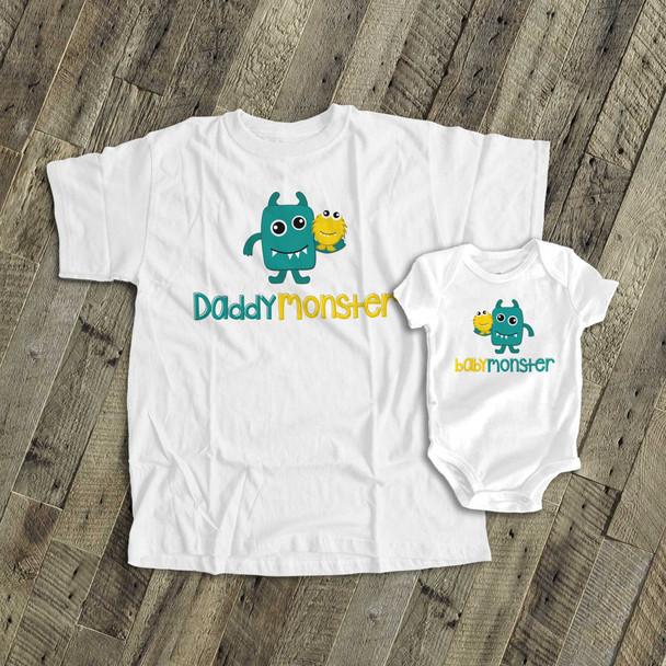 Monster theme daddymonster and babymonster shirt set