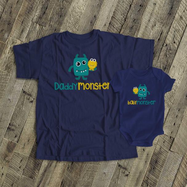 Monster theme daddymonster and babymonster DARK shirt set