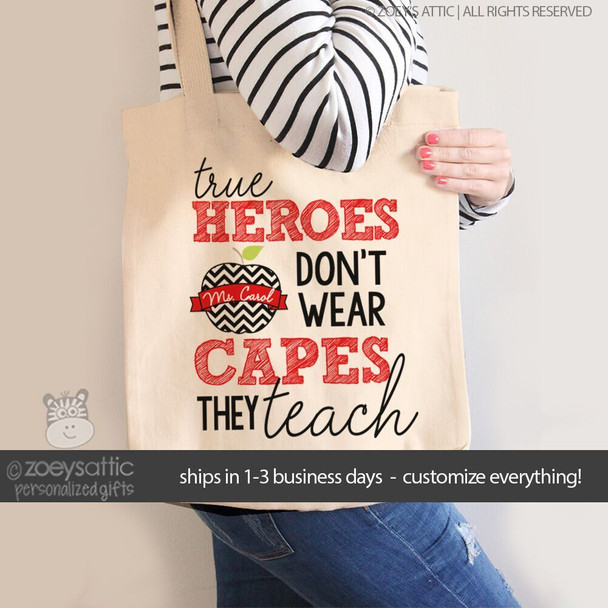 Teacher heroes tote bag