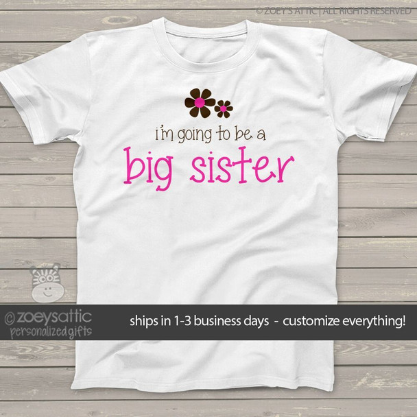 Big sister to be shirt pink and brown flower pregnancy announcement Tshirt