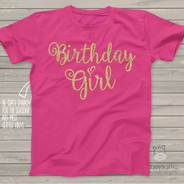 Birthday girl sparkly glitter DARK Tshirt